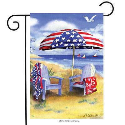 "Patriotic Beach Summer Garden Flag Adirondack Chairs Nautical 12.5"" x 18"""