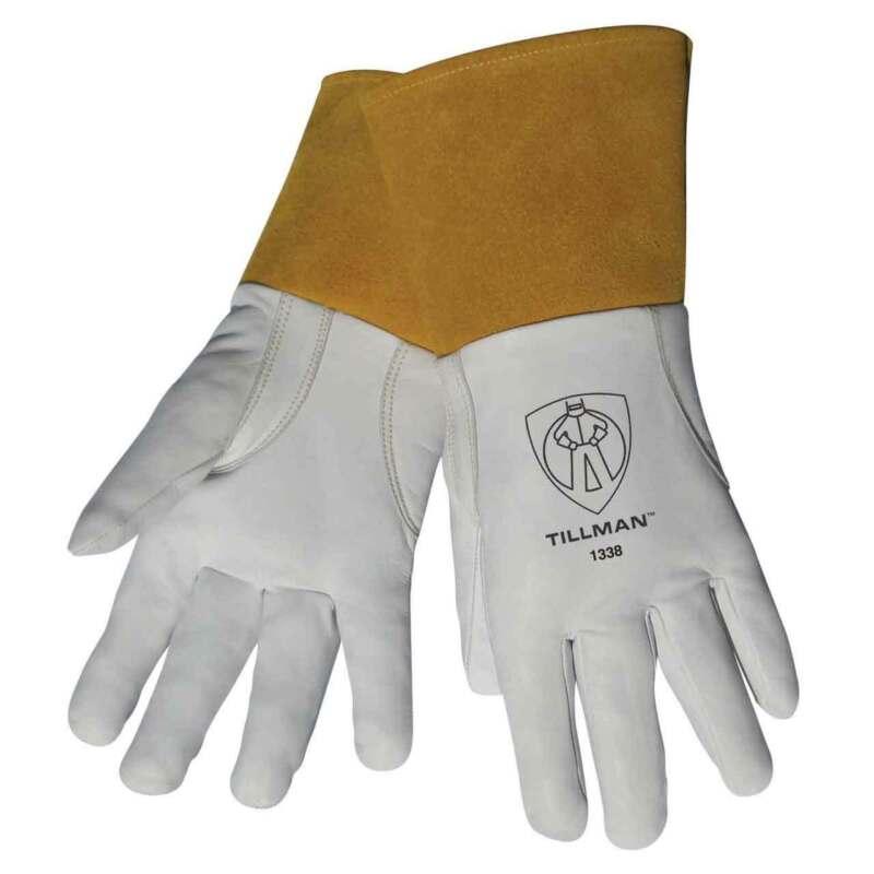 "Tillman 1338 Top Grain Goatskin TIG Welding Gloves with 4"" Cuff, Medium"