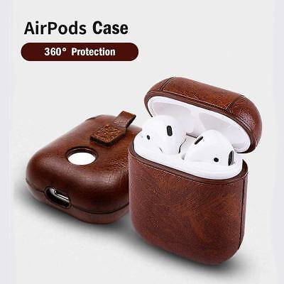 (For AirPod Case Leather Protective Earphone Shell Case Cover Apple Airpods Pods)