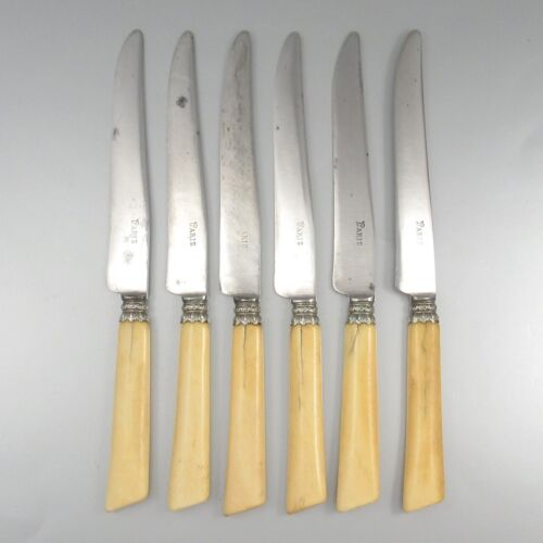 """Antique French Knives, Bone Handles & Silver Collars, Stamped """"Paris"""", 6 pcs"""