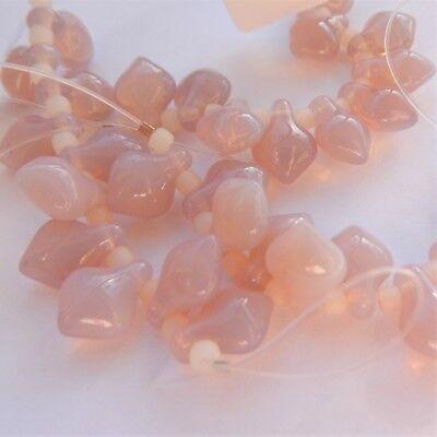 11x8mm Spade Milky Light Amethyst (10 beads) Czech Glass Beads