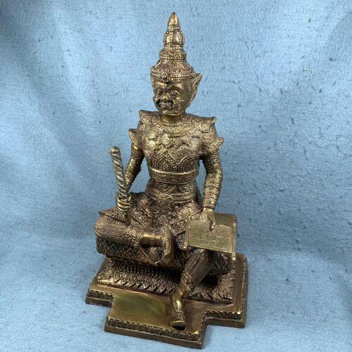 "Rare 12"" TAO WESSUWAN Statue Giant Talisman Thai Amulet Buddha fetish brass old"