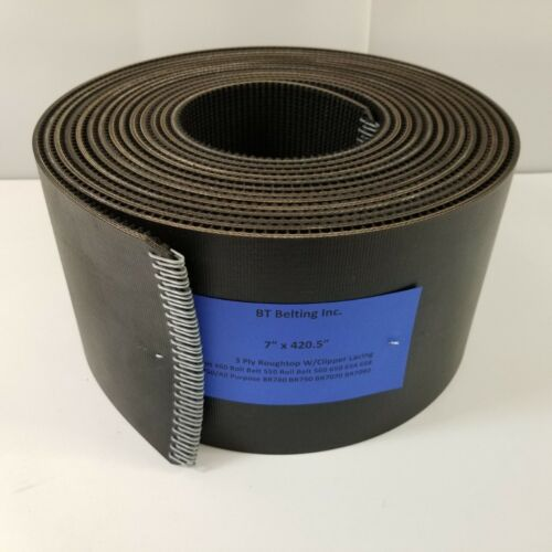 """7"""" x 420.5"""" New Holland Round Baler Belts 3 Ply Roughtop w/ Clipper Lacing"""