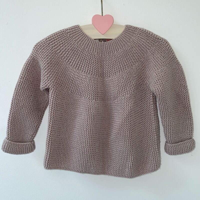 Zara 9-12 Months Baby Girls Dusty Taupe Pink Chunky Knit Cotton Jumper