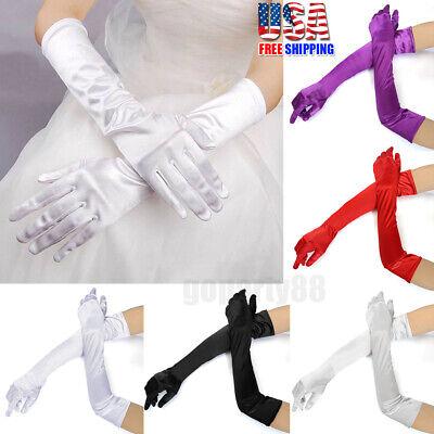 Satin Evening Gloves (Women's Satin Long Gloves Wedding Bridal Evening Opera Party Prom Costume)