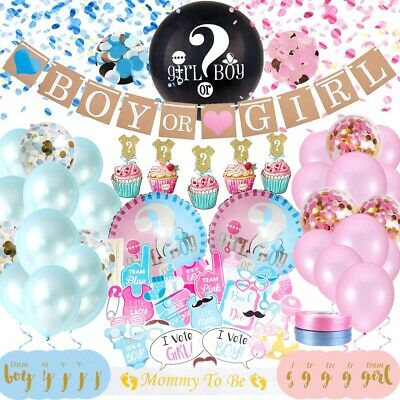 Gender REVEAL Party Supplies, Baby Shower Boy or Girl Decoration Kit -127