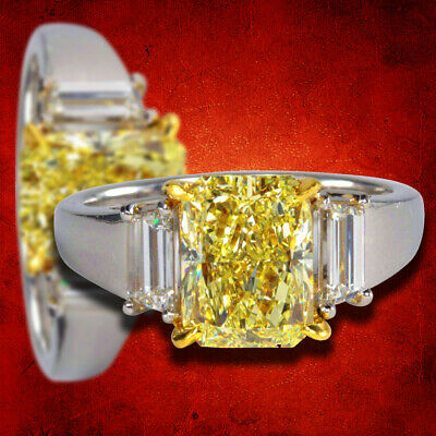 Unique GIA Fancy Light Yellow Diamond Engagement Ring 2.86 carat Fancy L Yellow