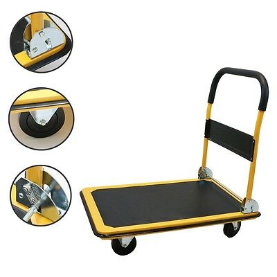 New Platform Cart Folding Dolly Moving Push Hand Truck Warehouse - 660lbs Yellow