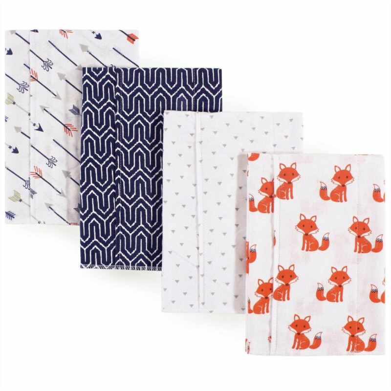 Hudson Baby Boy Flannel Burp Cloth 4-Pack, Foxes