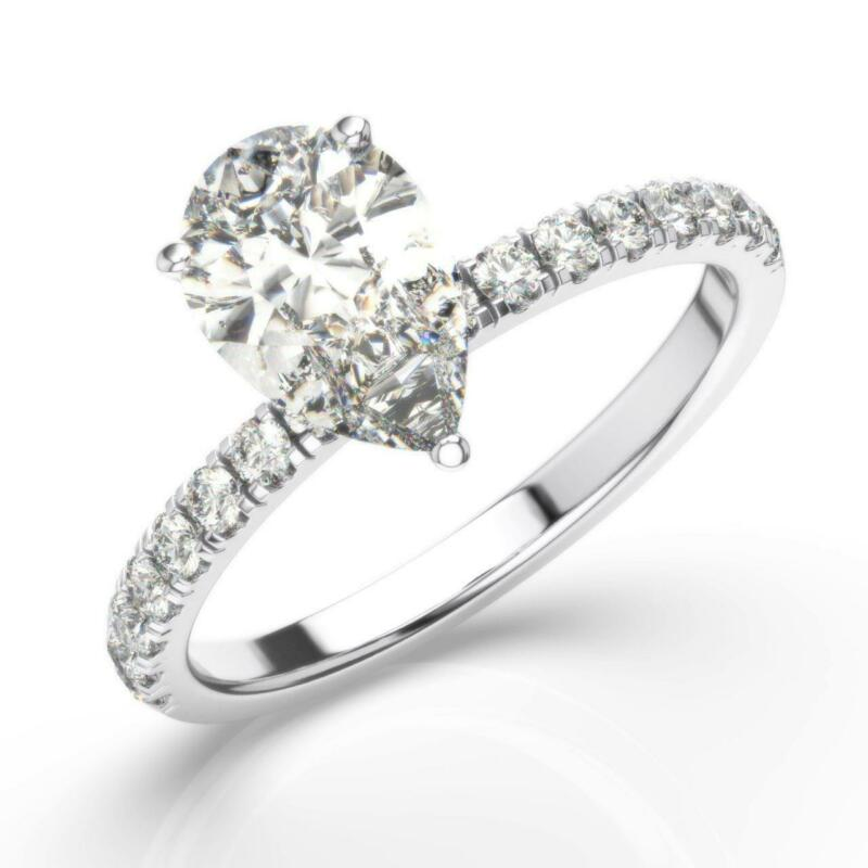 Real Diamond Engagement Ring Hidden Halo F/si1 1.75 Ct Pear 14k White Gold