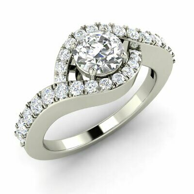 Certified 0.91 Carat Natural Round Diamond Engagement Ring Solid 10k White Gold