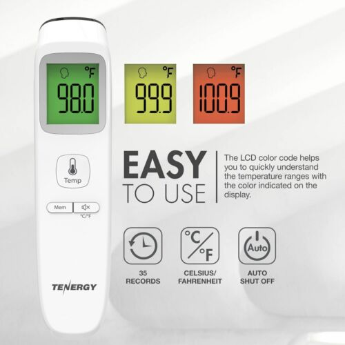Tenergy No Contact Infrared Digital LCD Thermometer Head Forehead Baby Adult FDA