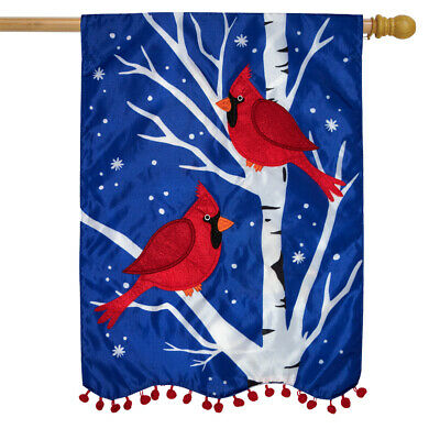 """Winter Cardinals Applique House Flag Double Sided 28"""" x 40"""" Briarwood Lane"""