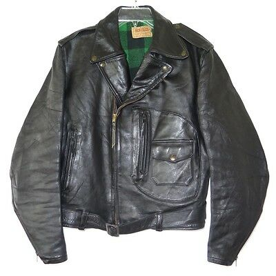 VINTAGE ORIGINAL HORSEHIDE MOTORCYCLE JACKET HERCULES D POCKET PLAID 1940s SZ 42