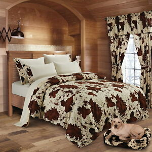 WHITE BROWN BEDDING COW COWHIDE WESTERN