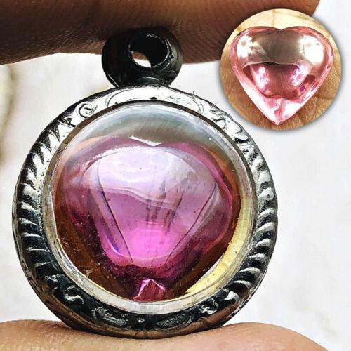 Crystal Love Gem Healing Stone Naga Eye Heart Leklai Thai Amulet Rose Pink #0145