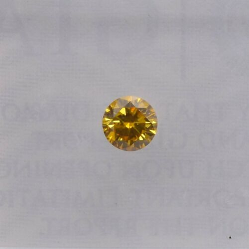 0.14Cts Fancy Deep Orange Yellow Loose Diamond Natural Color Round Cut GIA Cert