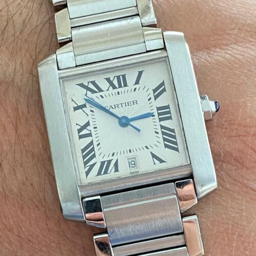 CARTIER TANK FRANCAISE AUTOMATIC 2302 MEN'S WATCH 100% GENUINE STAINLESS STEEL - watch picture 1