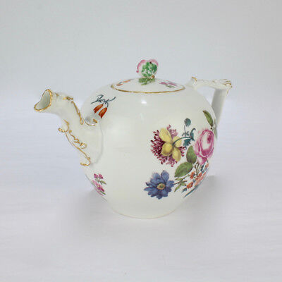 "Antique 18C Meissen Porcelain Teapot w Enamel ""Deutsche Blumen"" Decoration - PC"