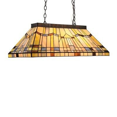 Tiffany Style Stained Glass 3 Bulb Mission Island Pool Game Table Light Fixture  3 Light Tiffany Island