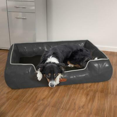 Hundebett Hunde-Korb-Kissen Sofa Hundedecke Katzenbett M-XL PU Grau-Schwarz