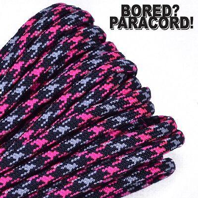 Neon Pink Ninja - 550 Paracord Rope 7 strand Parachute Cord 10 25 50 100 ft (Pink Rope)