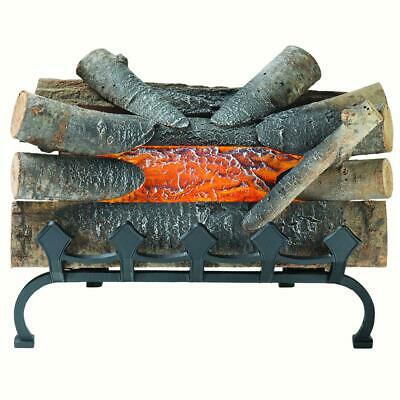 Electric Fireplace Crackling Log Burning Fake  Wood Glowing Decor with Grate  ()