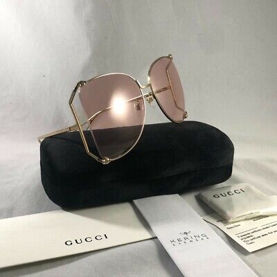 Authnetic Gucci GG0252S Gold/Pink (004 CE ) Metal Oversized (Gucci Shades Pink)