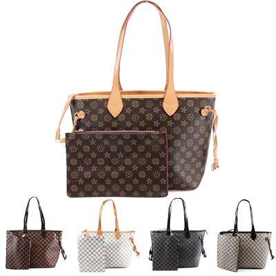 Ladies Fashion Shopper Bag & Clutch Bag Womens Check Floral 2 in 1 Fashion Bags