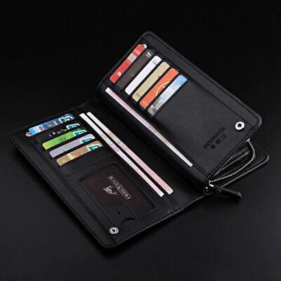 Fine Leather Wallet - Men purse zipper pocket clutch Fine Charming leather phone holder long wallet
