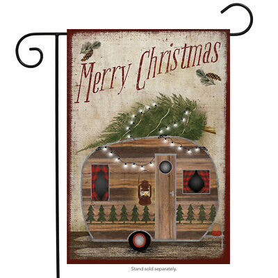 "Merry Christmas Camper Garden Flag Primitive Holiday 12.5"" x"