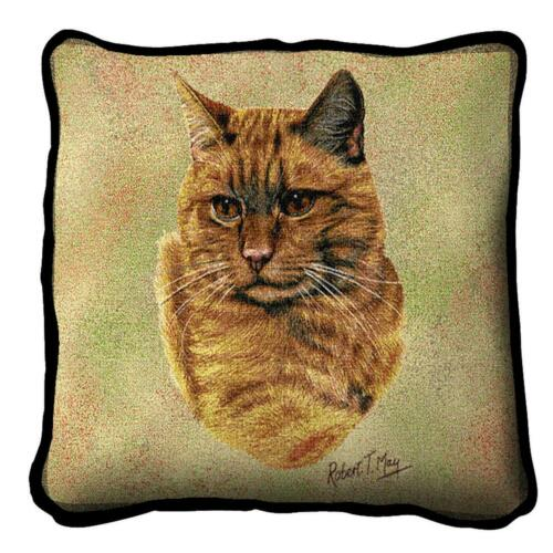 """Red Tabby Cat Pillow Pure Country Weavers 17"""" x 17""""  100% Cotton Breed"""