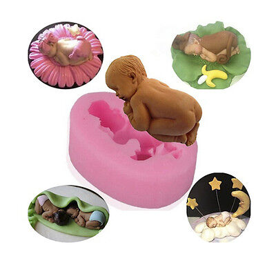 3D Candy Cupcakes Decor Silicone Sleeping Baby Shape Cake Mold Fondant Creative