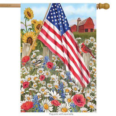 #73 AMERICA THE BEAUTIFUL PATRIOTIC FLOWERS CADRDINAL HOUSE FLAG 28X40 BANNER