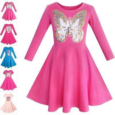 Girls Dress Owl Ice Cream Butterfly Sequin Everyday Dress Size 5-12
