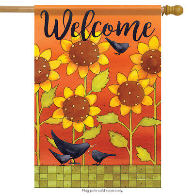 Fall Decorative Banner - Sunny Fall Crows House Flag Floral Bird Double Sided Decorative Banner 28
