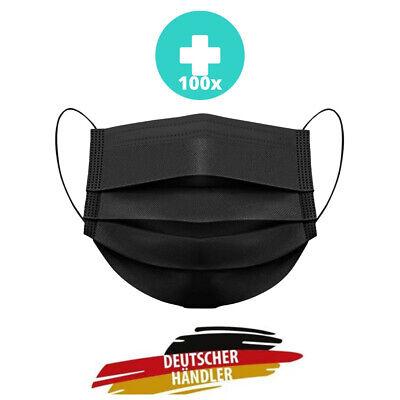 100x OP Masken 3-lagig Schwarz Mundschutz Masken Hygienemaske Einwegmaske Maske