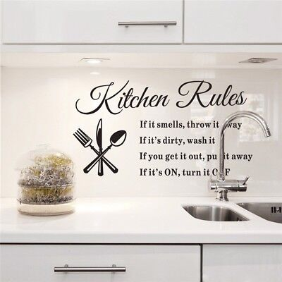 Home Decoration - Kitchen Rules Home Quote Wall Stickers Art Dining Room Removable Decal DIY