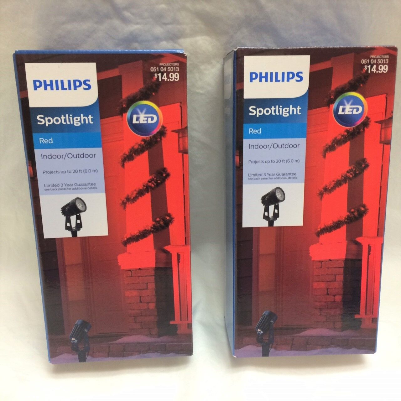 Indoor/Outdoor Phillips RED LED Projector Spotlight: 6' Cord