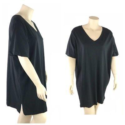 Roamans Top Women Plus 3X  Black 100  Cotton V Neckline Short Sleeve T Shirt Tee