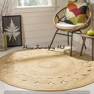 Indian Braided Natural Floor Jute Area Mat Round Dhurrie Hand Crafted Rag Rugs
