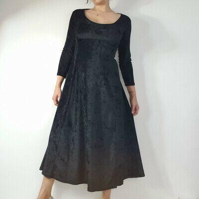 Vintage 90s Kameleon Black Velvet Dress Gown Size 10 12 14 16 goth steampunk