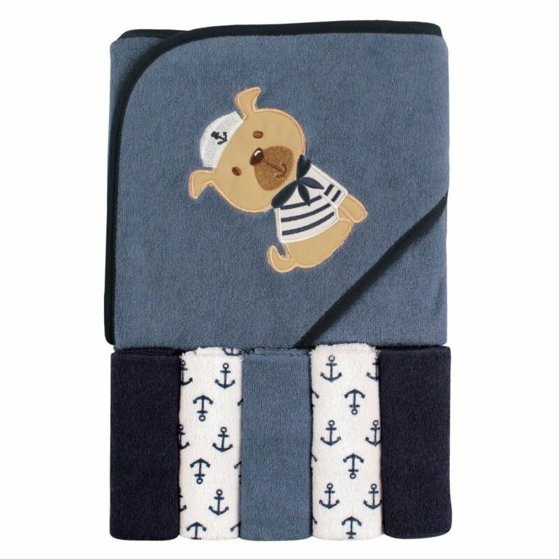 Luvable Friends Boy Hooded Towel with Washcloths, 6-Piece Set, Sailor Dog