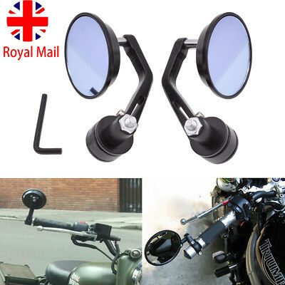 2PC CNC MOTORCYCLE BAR END BLACK REARVIEW SIDE MIRRORS FOR TRIUMPH SPE