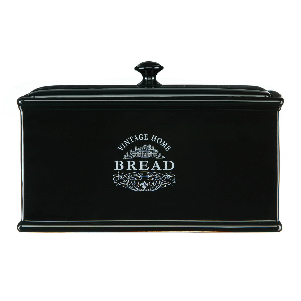 black vintage bread box canister home ceramic country kitchen jars