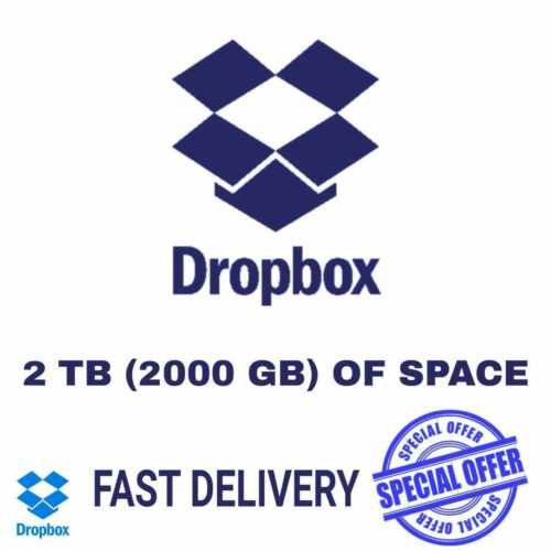 DropBox 2TB (2000GB) Of Space (10 sec Fast delivery) 1 year