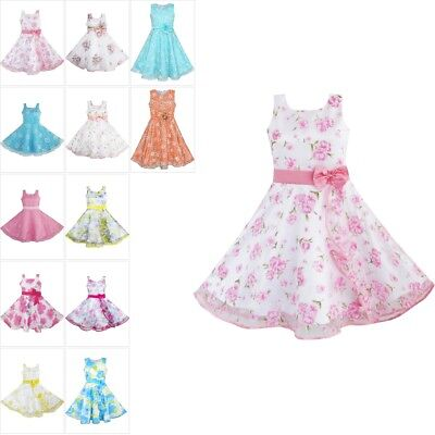 Flower Pageant Girl Dress 3 Layers Pink Wave Wedding Size 4-12 Sunny Fashion