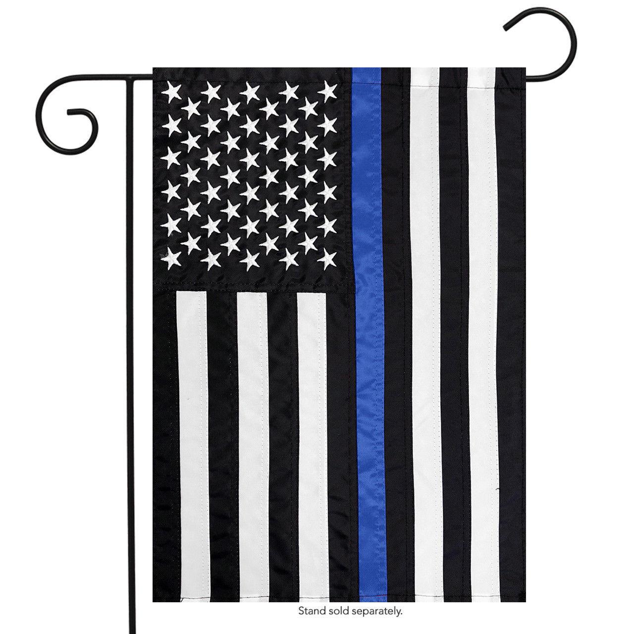 12x18 USA Thin Blue Line Embroidered Garden Flag Police Memo
