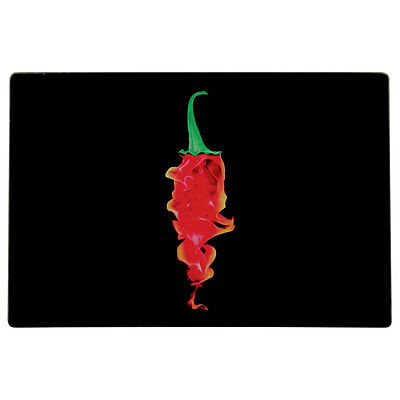 New Hot Chilli Red & Black Glass Food Preparation Chopping Worktop Saver Board