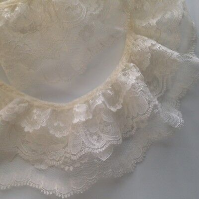 Ivory Gathered Triple Ruffled Lace Trim, 3 Tier Lace Trim, Lace by the - Ivory Gathered